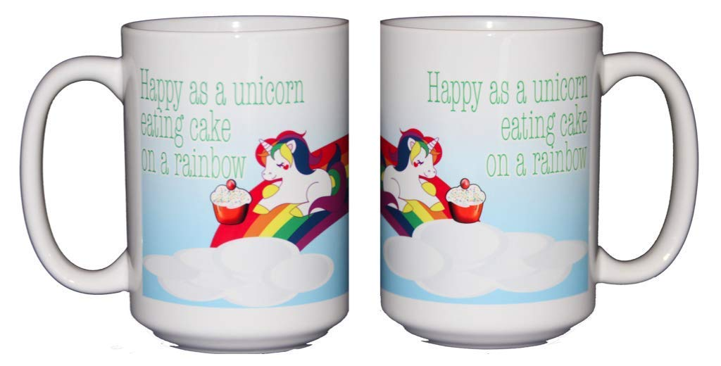 Happy as a Unicorn Eating Cake on a Rainbow Coffee Mug 4
