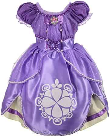 Dressy Daisy Girls' Princess Sofia Dress up Costume Cosplay Fancy Party Dress
