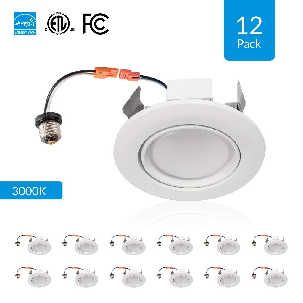 12-Pack 4-inch Dimmable LED Eyeball Downlights, 10W (Replace 50W), Adjustable Beam Angle Eyeball Design, 3000K (Soft White), Voltage: 120V, CRI 90+[High CRI], cETLus, Energy Star & FCC Approved