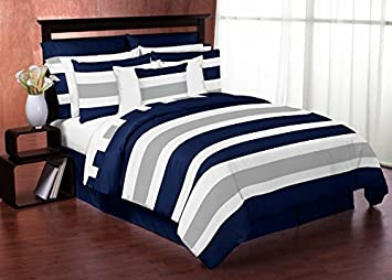 navy blue gray and white stripe 4 piece childrens teen boys twin bedding set - Twin Bed Sheets