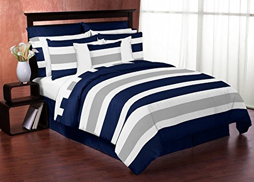 Navy Blue, Gray and White Stripe 4 Piece Childrens, Teen Boys Twin Bedding Set Collection