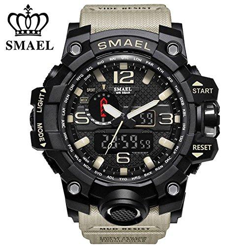 SMAEL Men's Sports Analog Quartz Watch Dual Display Waterproof Digital Watches with LED Backlight relogio masculino (Beige)