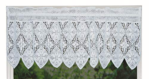 Creative Linens Knitted Crochet Lace Kitchen Curtain Valance WHITE, 100% Cotton - Floral Swag Cotton