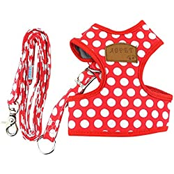 SMALLLEE_LUCKY_STORE Soft Mesh Nylon Vest Pet Harness, Red, Medium