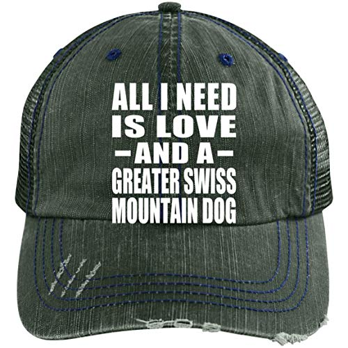 All I Need is Love and A Greater Swiss Mountain Dog - Distressed Trucker Cap Dark Green/Navy / One Size