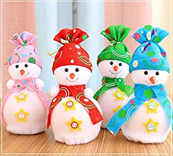 QBSM 4 PCS Christmas Snowman Doll Apple Gift Bag Pendant Kids Toys Home Party Decoration