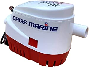 Oasis Marine Automatic Submersible Boat Bilge Water Pump 12v 750 GPH Automatic with Float Switch Built in 3/4 inch Outlet