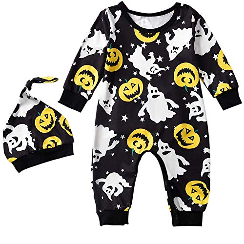 Newborn Infant Baby Boy Girl Halloween Outfit Jack-O'-Lantern Print Footless Romper and Beanie Hat ()