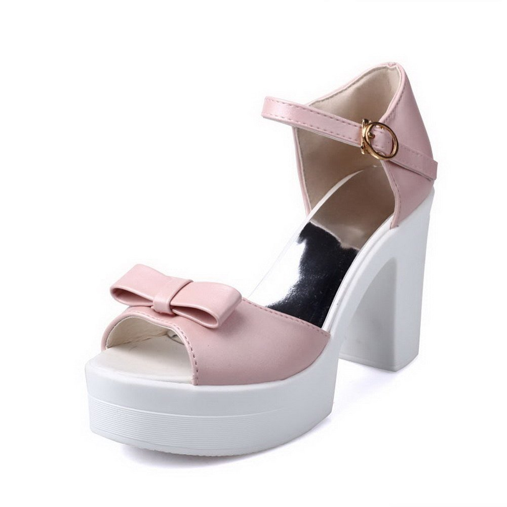 WeiPoot Women's High-Heels Soft Material Solid Buckle Open Toe Platforms-Sandals, Pink, 38