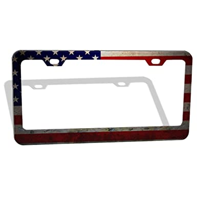 DZGlobal US Faded Flag License Plate Holder Aluminum Retro American Flag License Plate Frame,Personalized License Tag Car Frames with 2 Holes for Men Women Decoration: Automotive