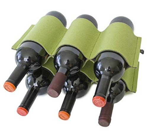 Felt Wine Bottle Rack Holds 6 Bottles Two Tone Green and - Wine Racks Green