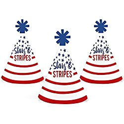 Stars & Stripes - Mini Cone 2018 Elections USA Patriotic Party Hats - Small Little Party Hats - Set of 10