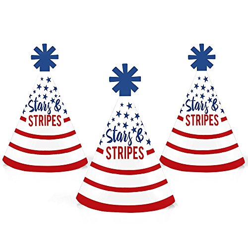 (Stars and Stripes - Mini Cone Labor Day USA Patriotic Party Hats - Small Little Party Hats - Set of 10)