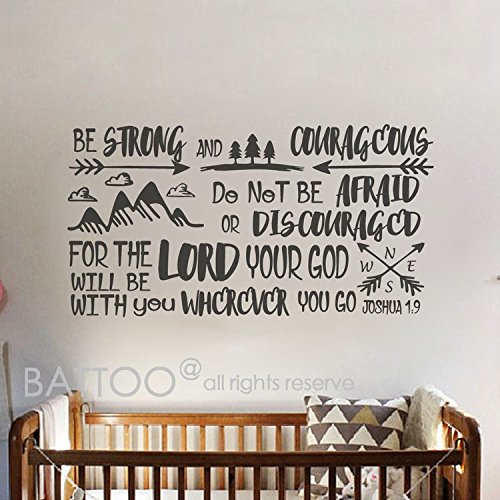 BATTOO Joshua 1:9 Be strong and courageous-Boys Nursery Vinyl Wall Sticker Arrows Compass Mountains Bible Verse Wall Decal Nursery Boy Room Vinyl Lettering(Black, 68.5