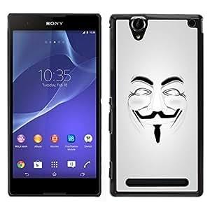 // PHONE CASE GIFT // Duro Estuche protector PC Cáscara Plástico Carcasa Funda Hard Protective Case for Sony Xperia T2 Ultra / Anonymous Mask Guy Fawkes Freedom /