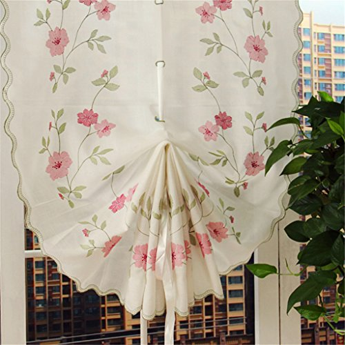 ZHH 1 Panel Polyester Handmade Crochet Flowers Pastoral Style Rustic Tie-Up Balloon Curtain 25-Inch By 57-Inch,Pink by ZHH (Image #1)