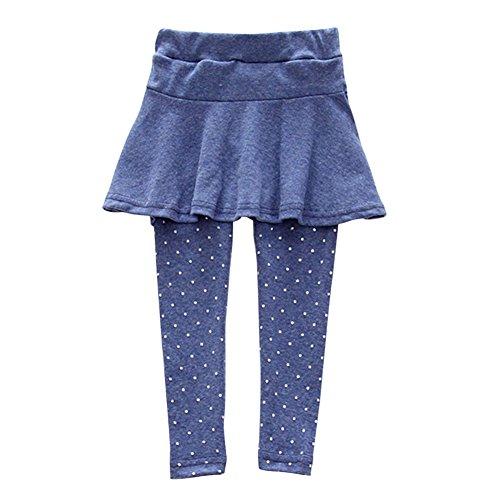 Froomer Little Girls' Wool Lycra Culotte Dots Leggings Trousers Pantskirts Blue (Trousers Spandex Wool)