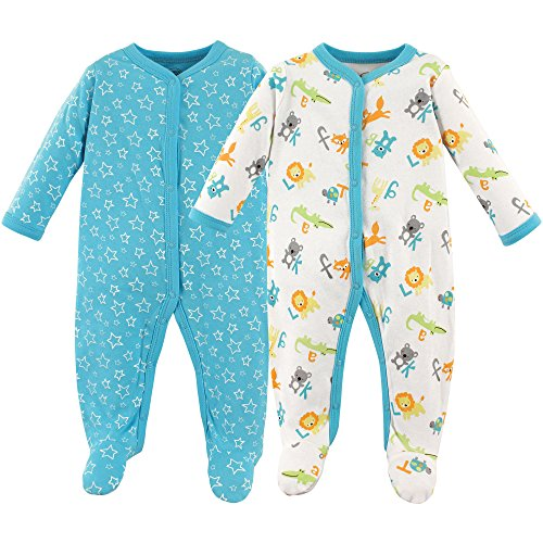 Yellow Footed Sleeper Pajamas - Luvable Friends Unisex Baby Sleep and Play, ABCs 2-Pack, 3-6 Months (6M)
