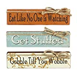 Youngs Fall Wood Block Signs, 3 Different Autumn Designed Plaques Included