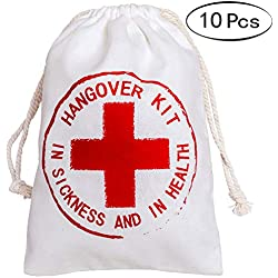 Letjolt 10 Pcs Hangover Kit Bags for Bachelorette Hangover Party Relief Kits Bags for Bachelor Hangover Party Welcome Bags for Party Favor Bags for Wedding Favor Bags(5x7 inch, Red Cross)