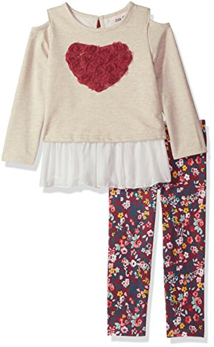 Floral Cotton Set Legging (Little Lass Girls 2 Pc Floral Legging Set Cold Shoulder, Oatmeal, 5)
