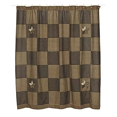 Farmhouse Star Shower Curtain in Patchwork Star Pattern