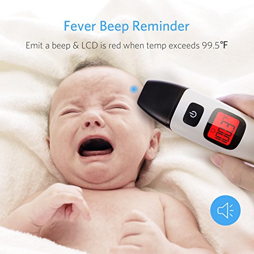 HOMIEE Black Thermometer, Ear Thermometer for Kids, Non Contact Infrared Digital Forehead Thermometer with Fever Alert and Three Color Backlit for Baby and Adults, FDA and CE Certifications Approved by HOMIEE (Image #4)