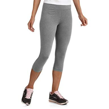 26c685b14bb1b Danskin Now Women's Cotton Spandex Capri Fitness Leggings, Heather Grey,  Small