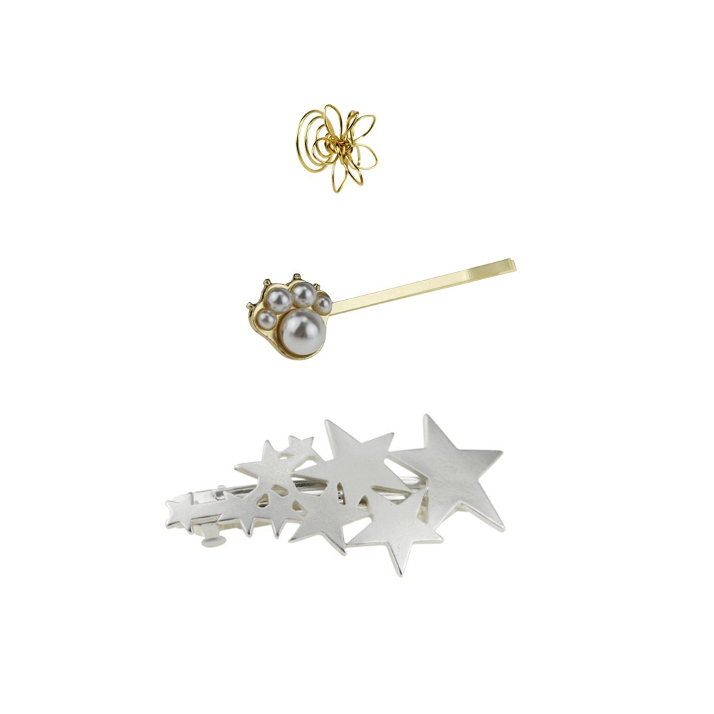 Hair Jewelry Accessories for Women Hair Tool Gold Fine Barrettes Hair Clips Set (3pcs) GBJewelry