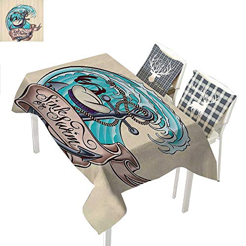 Circus Candle Baby Holders - WilliamsDecor Anchor Decor Collection Outdoor Tablecloth Anchor Classic Cartoon Characters Sailor Hat Marine Life Dangerous Wavy Sea Travel ImageAqua Beige Rectangle Tablecloth W60 xL102 inch