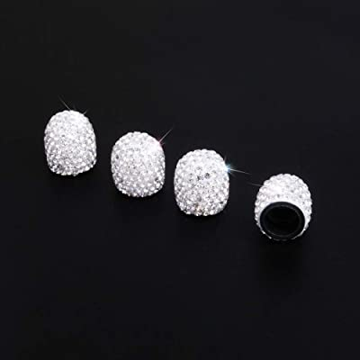 Royalfox 4 Pieces Jeweled Bling Diamond Rhinestone Tire Wheel Stem Valve Caps Cover for Car Truck (White): Automotive