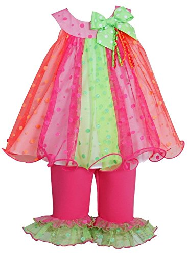 Dress Glitter Dot (Bonnie Jean Baby Girls Glitter Dot Colorblock Trapeze Dress/Legging Set (18M, Fuchsia/Multi))