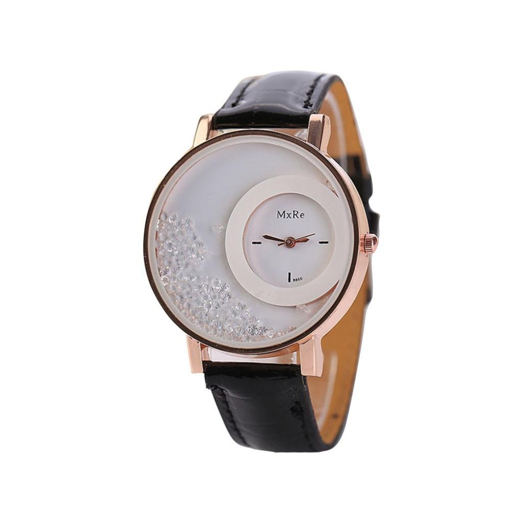 Sviki Watches,Woman Leather Quicksand Rhinestone Quartz Bracelet Wristwatch Watch (Black)