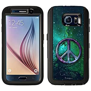 Skin Decal for Otterbox Defender Samsung Galaxy S6 Case - Peace on Nebula Green