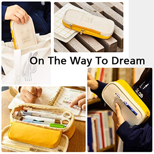 EASTHILL Medium Capacity Pencil Pen Case Office College School Large Storage High Bag Pouch Holder Box Organizer Yellow Orange New Arrival
