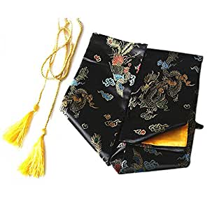TOOGOO(R) 135cm Dragon and Phoenix Katana Samurai Sword Bag Tissu Black