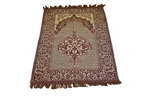 Best Quality Goblen Silk Brocades Islamic Prayer Rug Janamaz Sajjadah Muslim Namaz Seccade Turkish Prayer Rug (CherryRed) by MKISLA