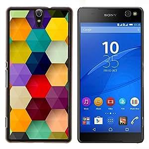 EJOOY---Cubierta de la caja de protección para la piel dura ** Sony Xperia C5 Ultra ** --polígono hexagonal menta en colores pastel púrpura