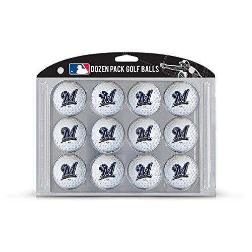 (Team Golf MLB Milwaukee Brewers Dozen Regulation Size Golf Balls, 12 Pack, Full Color Durable Team Imprint)
