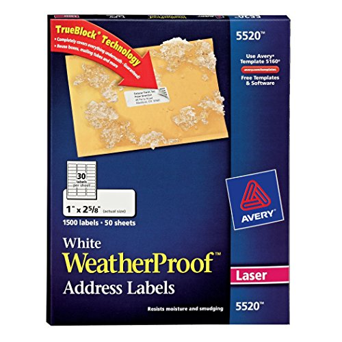 Avery WeatherProof Mailing Labels with TrueBlock Technology for Laser Printers 1' x 2-5/8', Box of 1,500 (5520)