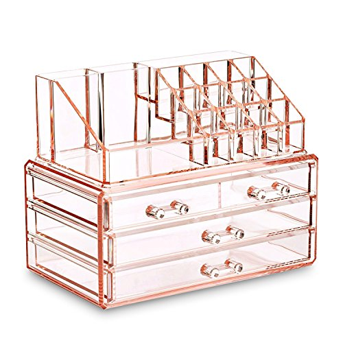 Ikee Design Acrylic Pink Jewelry & Cosmetic Storage Display Boxes Two Pieces (Rose Box Collection)