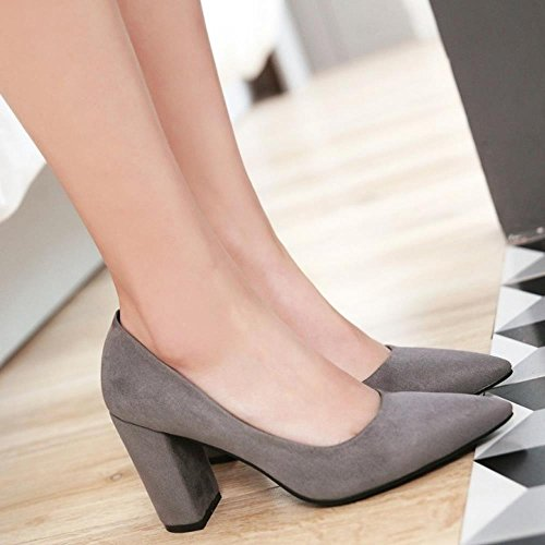 COOLCEPT Mujer Moda sin Cordones Puntiagudo Tacon Ancho Alto Bombas Zapatos Boca Baja Zapatos SU Gris