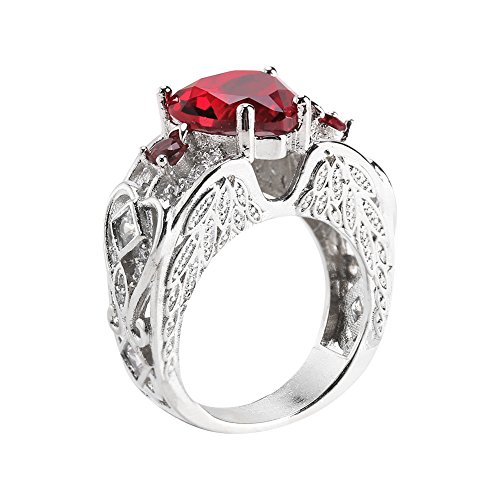 Brrnoo Red Heart Zircon Ring, Women Fashionable Silver Jewelry Filled Gift (7)