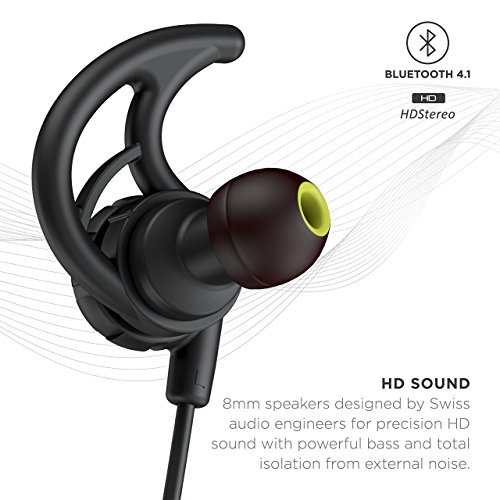 Phaiser BHS-750 Bluetooth Headphones Runner Headset Sport Earphones with Mic and Lifetime Sweatproof Guarantee - Wireless Earbuds for Running, Blackout