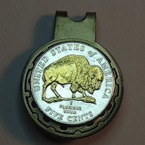 New 2005 Bison nickel, 2-Toned (Uniquely Hand done) Gold on Silver coin - Golf Ball Marker - Hat clips magnetic for men - women - boys - accessories