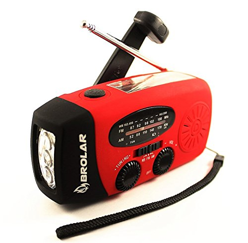 BROLAR - Emergency Solar Hand Crank Radio Self Powered AM/FM - NOAA Weather Radio, Survival LED Flashlight, Smart Phone Charger Power Bank