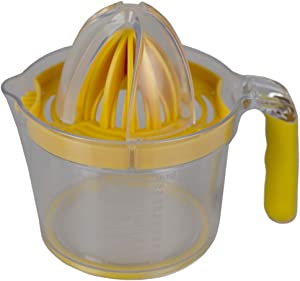Home Basics KT41420 4-in-1 Simple Squeeze Hand Press Manual Food-Grade Plastic Juicer with Built-in Measuring Cup and Egg Separator, Yellow, 16.6 oz