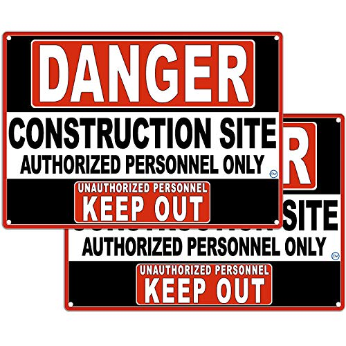 Danger Construction Site Sign for Indoor or Outdoor Use, Authorized Personnel Only, Keep Out Sign - 2 Signs in White and Red, Hard Plastic Durable Plastic with Holes, Construction Use 10 x 7 from Prime Vantage