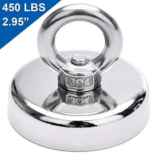 DIYMAG Super Strong Neodymium Fishing Magnets, 450 lbs(204 KG) Pulling Force Rare Earth Magnet with Countersunk Hole Eyebolt Diameter 2.95 inch(75 mm) for Retrieving in River and Magnetic Fishing