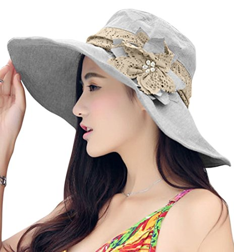 Women Ladies Elegant Anti-UV Sun Protection Large Brim Floppy Flower Foldable Summer Sun Hat Fisherman Hat Outdoor Beach Traveling Hiking Camping Shopping Dating Flat Bucket Hat Sun Hat Cap Light (Adult Simple Halloween Costumes)